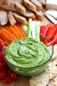 Spinach Feta Hummus. A garlicy, tangy hummus using fresh spinach, salty feta and chickpeas.