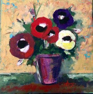 Art by Viorica Buga: Anemone, oil on canvas,40/40cm