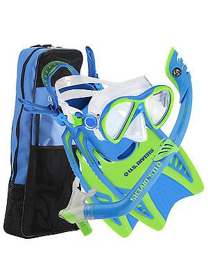 Snorkels and Sets 71162: Us Divers Flare Jr Lx Premium Dry Snorkeling Set For Children L Xl Blue Green -> BUY IT NOW ONLY: $59.99 on eBay!