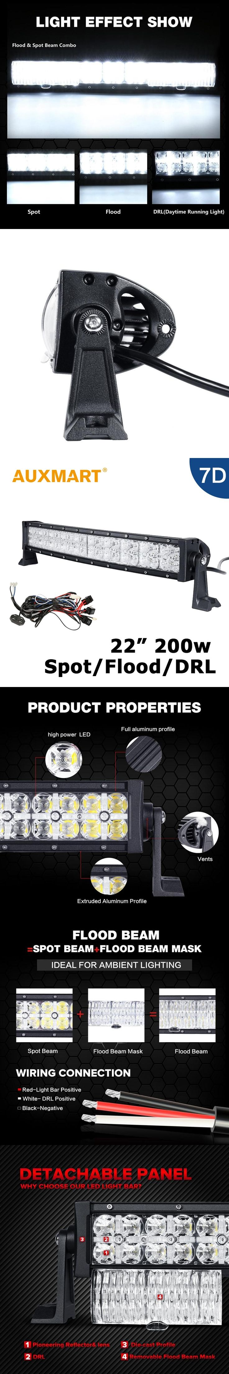 Auxmart Curved LED Light Bar 200W CREE Chips 22 inch 7D Offroad Light Bar 4X4 Truck ATV RZR Trailer 4WD Tractor 12V 24V