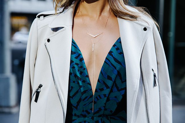 What The Chung: Jamie Chung wears Ann Taylor Crepe Moto Jacket