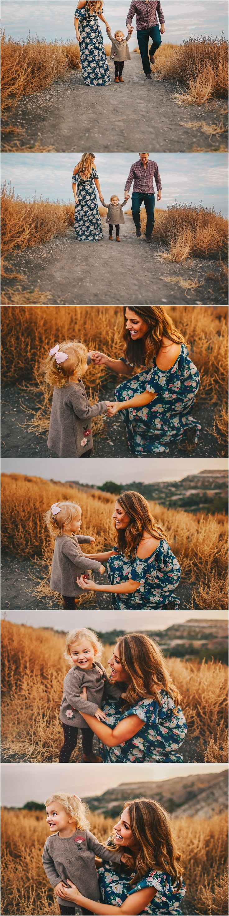Blue floral dress family session outfit