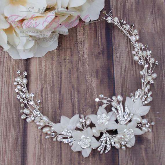 FAST Shipping!! Bridal Wreath, Bridal Headband Swarovski Wreath, Crystal Headband