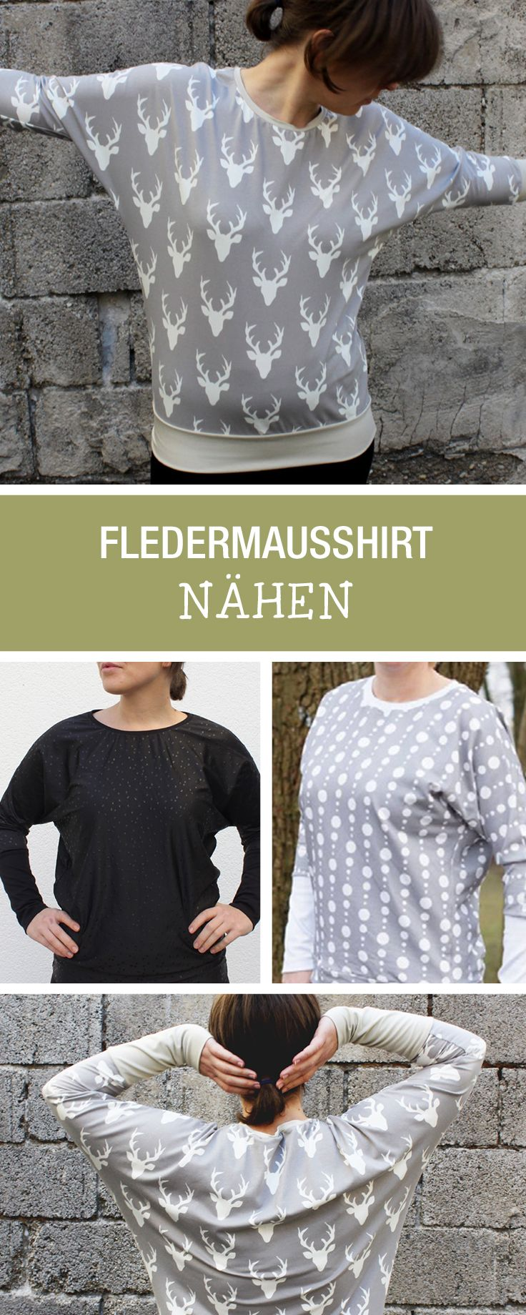 Nähanleitung für einen lässigen Pullover mit Fledermausärmeln / sewing tutorial for a casual shirt with batwing sleeves via DaWanda.com