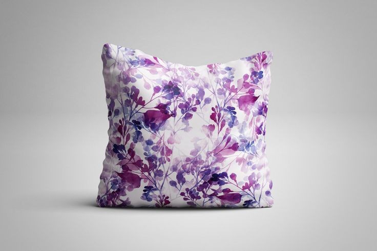 Purple Leaves Cushion. 12 x 12 inch Cushion by NJsBoutiqueCo on Etsy