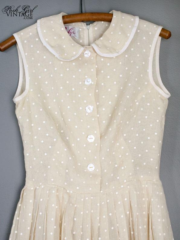 1960's Light Beige & White Polka Dots Cotton Day Dress - M