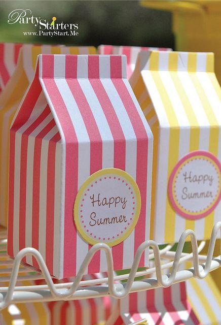Milk carton like favor boxes, so cute!