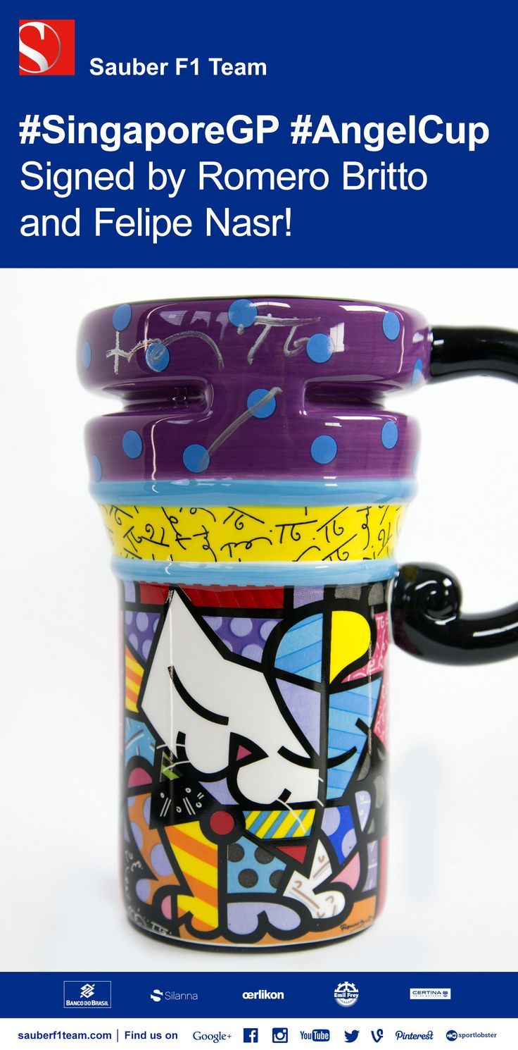 It's #AngelCup time again! This is the cup Felipe Nasr will drink his starting grid #coffee out of tomorrow. And IT COULD BE YOURS, signed by Felipe and Brazilian artist Romero Britto! Head to chrty.bz/ANGELCUP2 now to place your bid with @charitybuzz and support Gabrielle's Angels for Cancer Research  #F1 #SauberF1Team #Formula1 #FormulaOne #motorsport #SingaporeGP