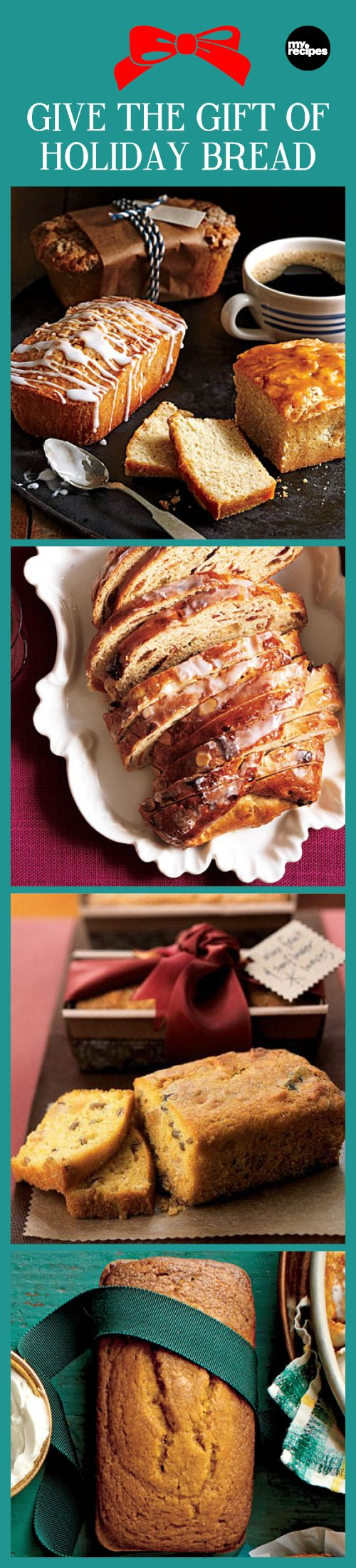 Give the Gift of Holiday Bread | MyRecipes  From rum-laced banana bread to mini cranberry panettone and fruit-filled stollen, festive breads make perfect holiday gifts.