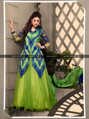 Parrot Green Georgette Elegant Designer Salwar Kameez  Designer salwar collection for Eid 2015  www.parisworld.in #Eid #salwar #parisworld