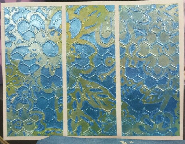 Gesso, Inka Gold and stencils.