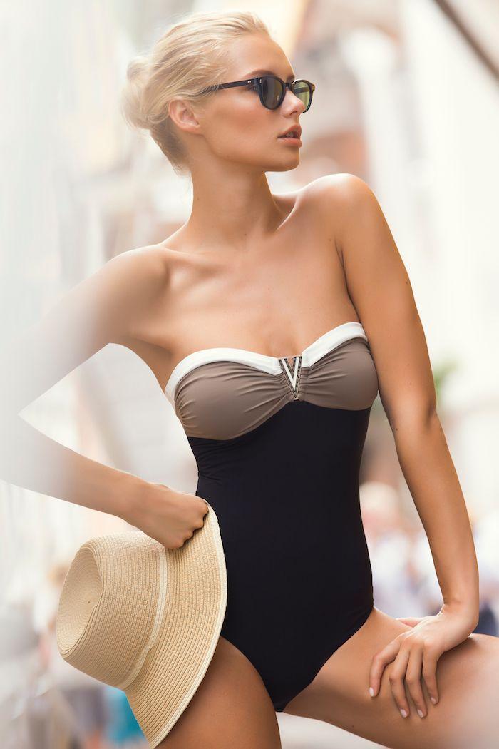 dustjacketattic:  bandeau color-block bikini