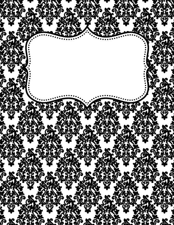 Free printable black and white damask binder cover template. Download the cover in JPG or PDF format at http://bindercovers.net/download/black-and-white-damask-binder-cover/