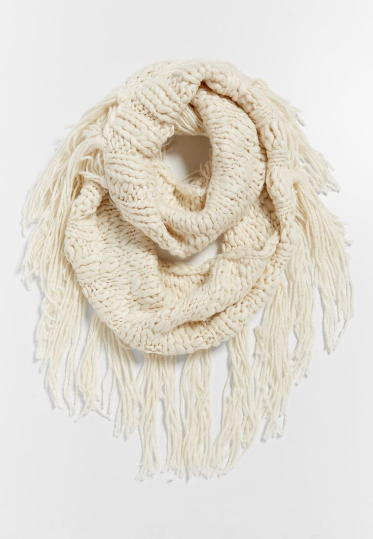 chunky knit infinity scarf with one fringed side in off white