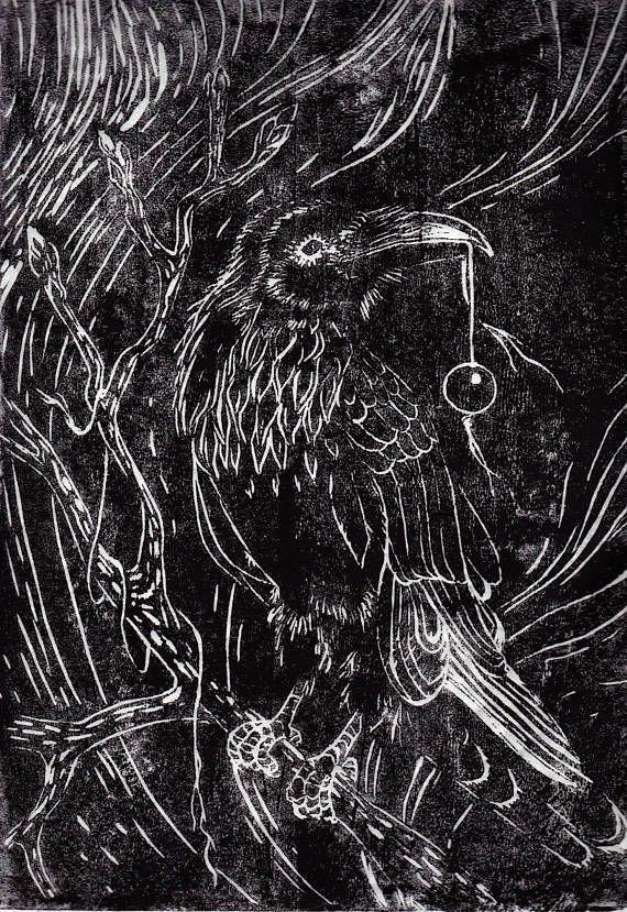 Art Print Linocut: Raven with bead. 5 prints made
