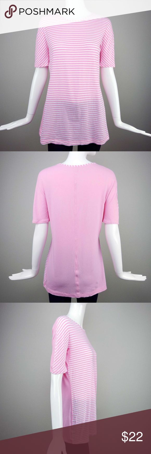 Lululemon Love Tee Shell Pink Size 8 Up for your consideration is a Lululemon Love Tee, Shell Pink / White Stripes Combination, Size 8, Very Good Used Condition. The front has the striped pattern, and the back is plain. It's super soft and feels great on the skin. The fit is body skimming so it's very forgiving. This top is perfect for layering. Great for yoga and other studio activities. No trades, no PayPal. Price firm unless bundled. lululemon athletica Tops Tees - Short Sleeve