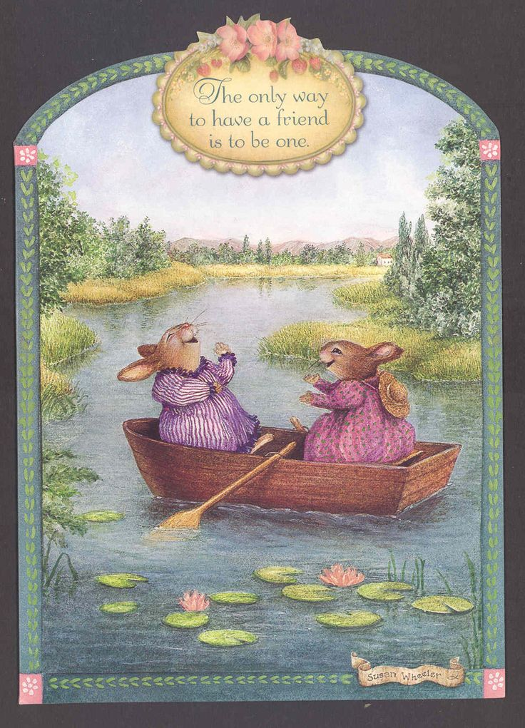 """Friends"" Fun Laughter Rabbits in Boat Susan Wheeler Friendship Greeting Card…"