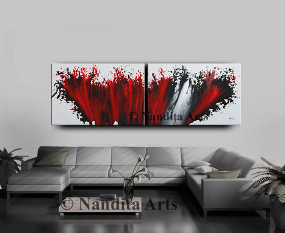 Red Wall Art Painting 72 X 24 Abstract Painting Etsy Red Wall Art Wall Art Painting Fine Art Painting Oil