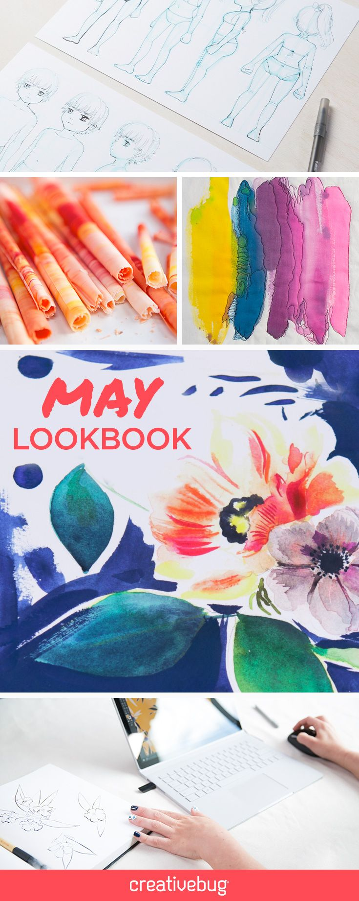 May is so much more than spring flowers. This month, we're embracing mottled watercolor vibes and big bold prints. We're paying special attention to the human form via draping classes for sewists and figure-drawing classes for artists. No matter your muse, kick your spring inspiration into high gear with this mix of brand new classes and Creativebug classics.