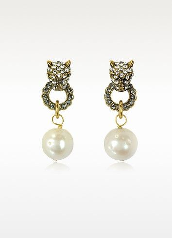 Perforated Textured And Pearl earrings Alcozer & J Qnkl7
