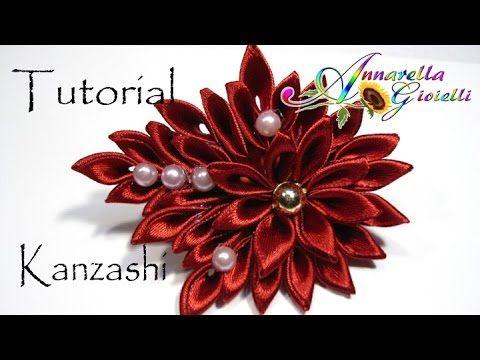 Tutorial Fiore Kanzashi per capelli | Kanzashi con nastro sottile