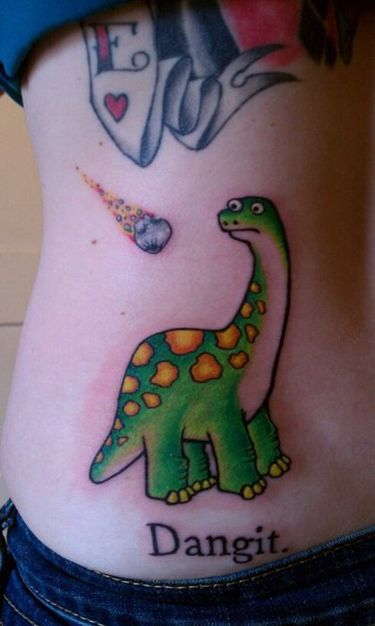 dinosaur and meteor this made me smile tattoos