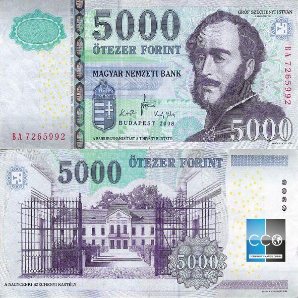 Au recto, le personnage est le Le comte István Széchenyi de Sárvár-Felsővidék (prononciation [ˈseːt͡ʃeːɲi]1), né à Vienne le 21 septembre 1791 et mort à Döbling le 8 avril 1860, est un homme politique, économiste et écrivain.