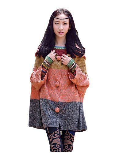 Amazon.co.jp: (リエボ) Liebo エスニック系 ニット アウター ジャケット コート パーカー レディース アパレル ファッション (ワンサイズ): 服&ファッション小物通販