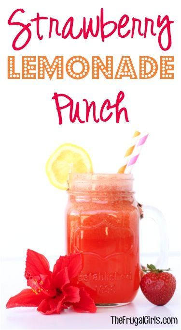 Strawberry Lemonade Punch Recipe! ~ from TheFrugalGirls.com ~ this easy punch is