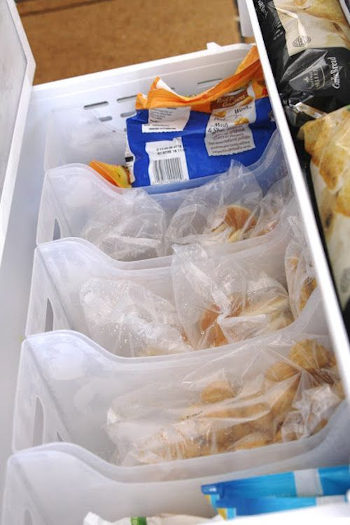#8. Organize large freezer drawers with plastic bins... keeps everything from getting burried! | 11 Brilliant Fridge and Freezer Organization Ideas
