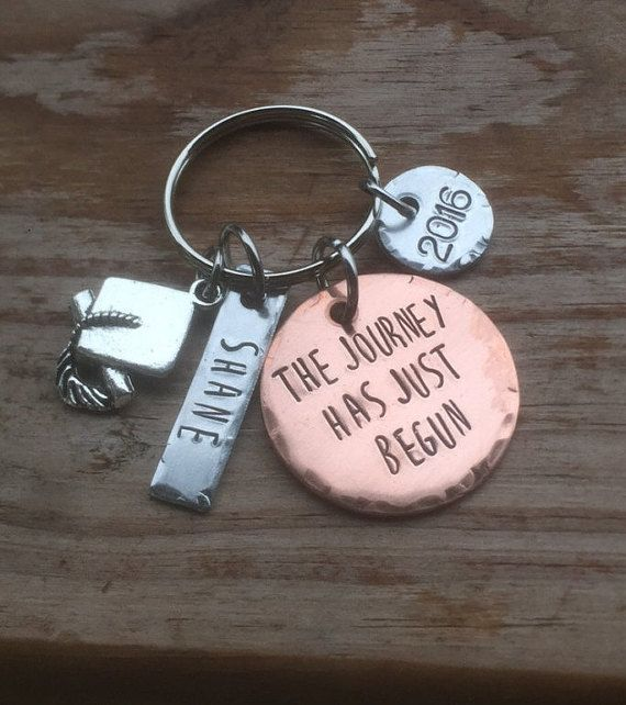 Hand Stamped Custom Graduation or Inspirational gift for guys or girls, vintage, keychain