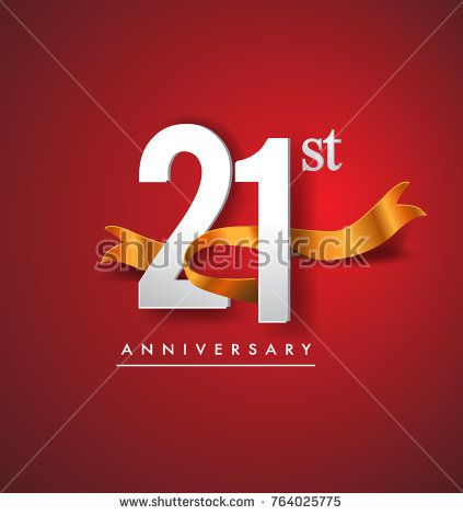21st anniversary logotype with golden ribbon isolated on red elegance background, vector design for birthday celebration, greeting card and invitation card.