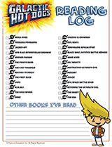 Galactic Hot Dogs Reading Log Printable | Track each chapter as kids read Galactic Hot Dogs online. Join the reading marathon today! #kidlit #comics #printables