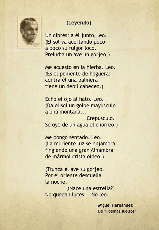 Poema de Miguel Hernández, autor de la Generación del 27.