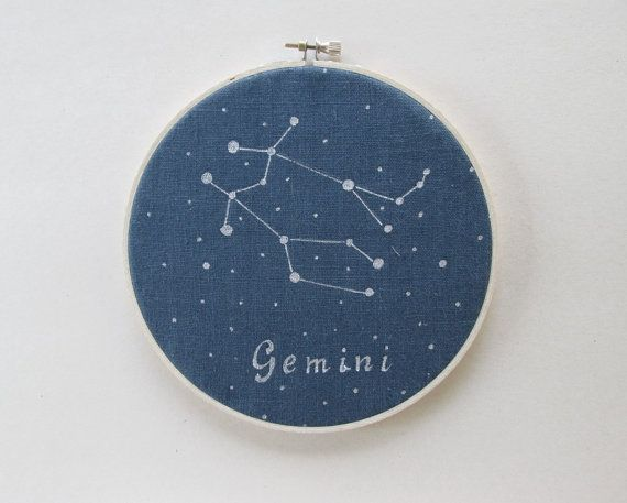 Hoop Art  Zodiac constellations Gemini Hand by ThePaperNeedle  Hoop art, zodiac constellation, home décor, mother`s day, free shipping, thepaperneedle, astrology