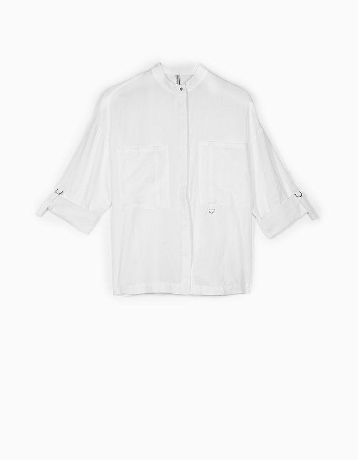 Рубашка в стиле сафари с воротником-стойкой - Рубашки | Stradivarius Россия