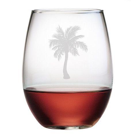 Palm Tree Stemless Wine Glasses