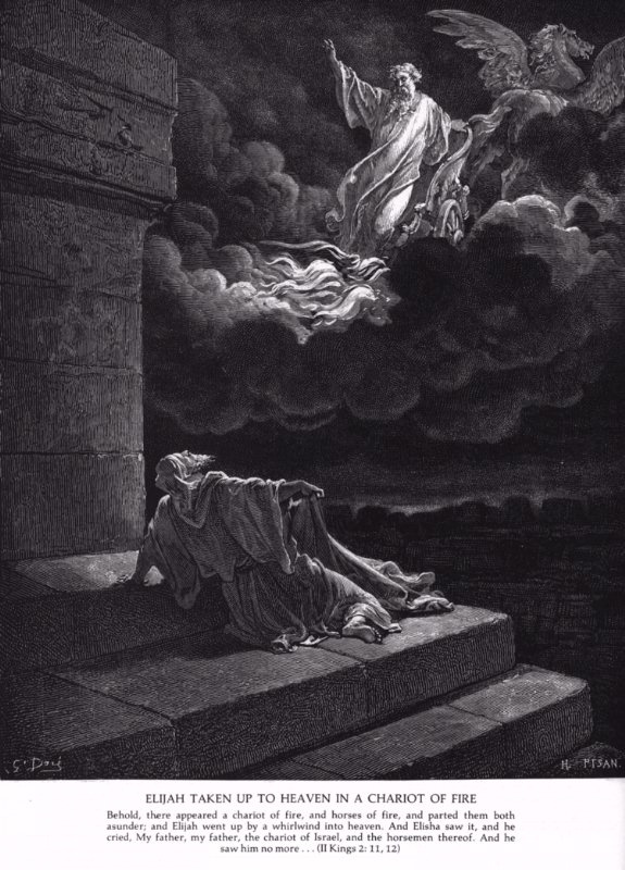 """""""ELIJAH TAKEN UP TO HEAVEN IN A CHARIOT OF FIRE"""" by Gustave Dore                                                                                                        http://biblelessonsite.org/images/elij2.jpg"""