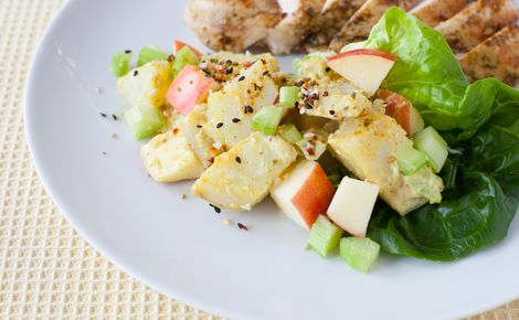 #Epicure 6 minute Potato Apple Salad with Mango Curry Dressing #vegetarian
