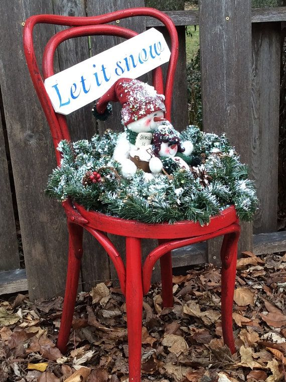 Red Vintage Bentwood Chair decorated for the by EclectibleParts4U