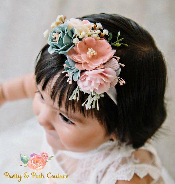 tieback flower crown baby photo prop Skinny Nylon Headband christmas gift, Baby flower headband baby flower crown newborn headband