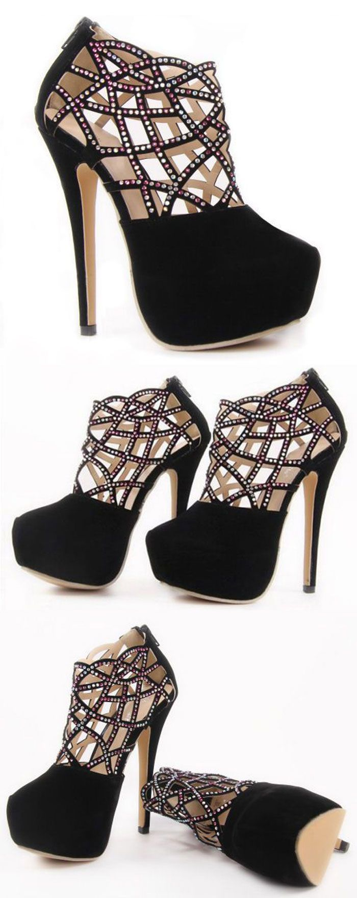 Diamante lace cutout heels //