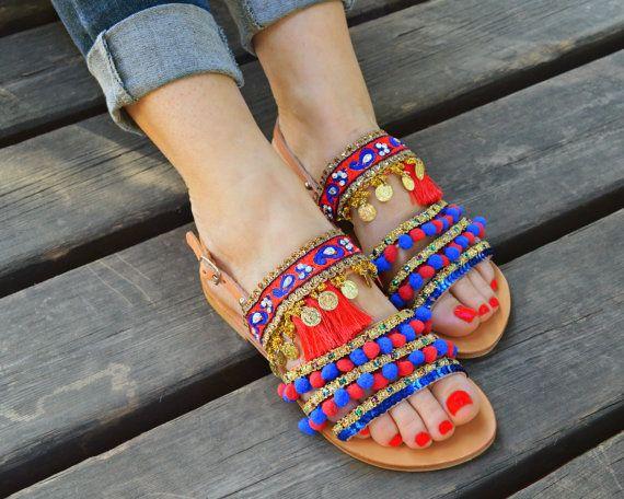 Pom Pom Sandals,Leather strappy sandals ,Summer shoes ,Bohemian sandals, Boho Sandals,