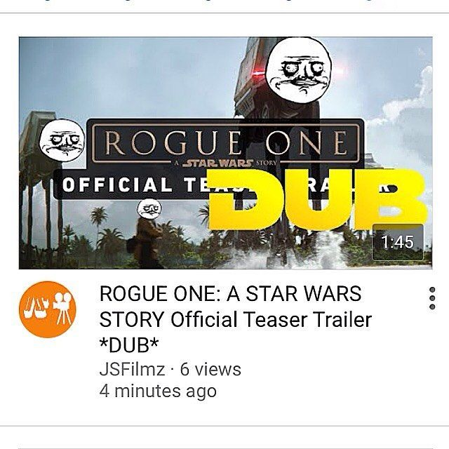 Hey if you guys didn't know on my @jsfilmz YouTube channel I uploaded a dub of the new Star Wars Rogue One Trailer. Make sure to check it out and let me know what you thought about it! :) #starwars #rogueone #starwarsrogueone #starwarsrogueonetrailer #dub #starwarsdub #humor #geekhumor #nerdhumor #starwarshumor #meme #geekmeme #nerdmeme #starwarsmeme #starwarstheforceawakens #theforceawakens #tfa #ro #swtfa #swro #youtube #itsatrap #starwarsnerd #starwarsgeek #starwarsfan…
