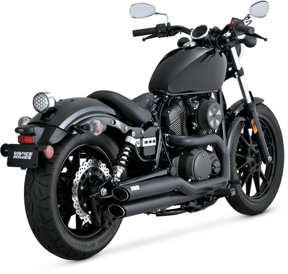 Vance & Hines Twin Slash Staggered Black for the Yamaha Bolt