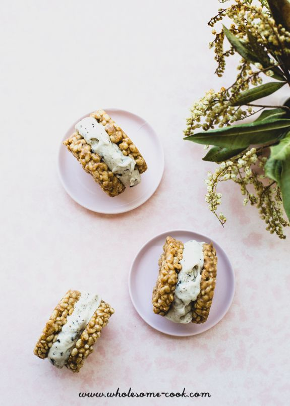 Coconut Choc Chip Ice Cream & Peanut Butter Cookie Sandwiches - http://wholesome-cook.com/2016/10/24/coconut-choc-chip-ice-cream-peanut-butter-cookie-sandwiches/