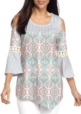 New Directions Citrus Arabia Petite Size Printed Cold Shoulder Top