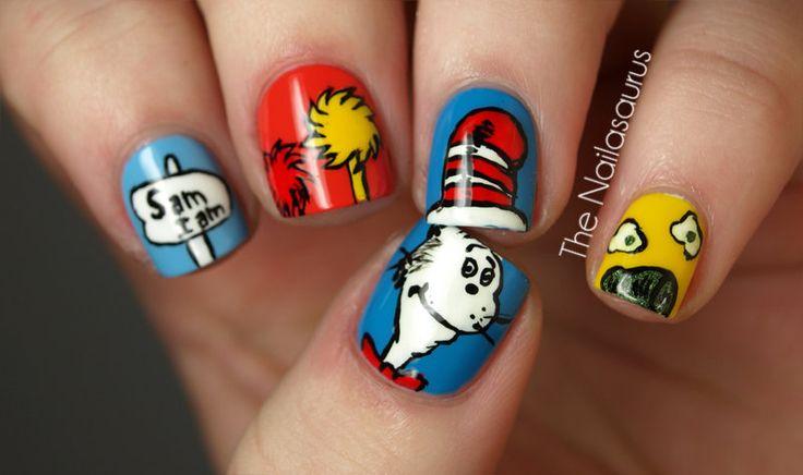 Dr. Seuss NailsHats, Cat, Nails Art, Nails Design, Art Design, Seuss Nails, Dr. Seuss, Nail Art, Dr. Suess