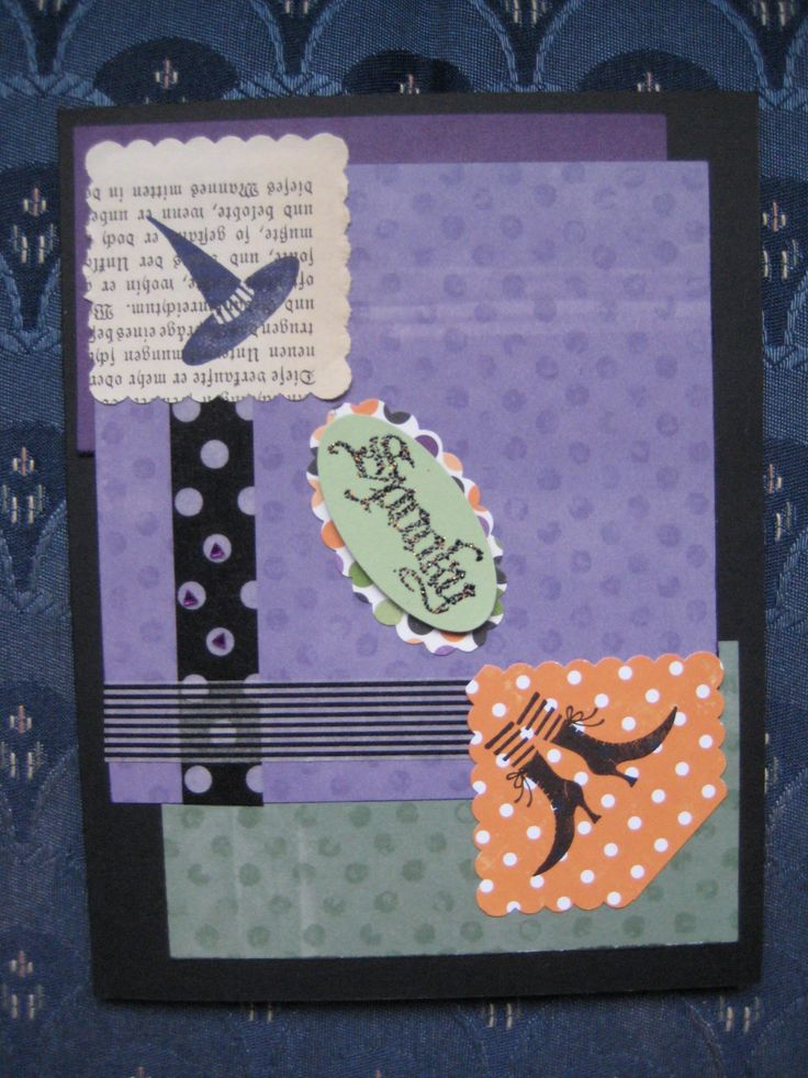 CAS ?? Stampin Up witch, spooky, washi Halloween card, gothic book page, fun with punches