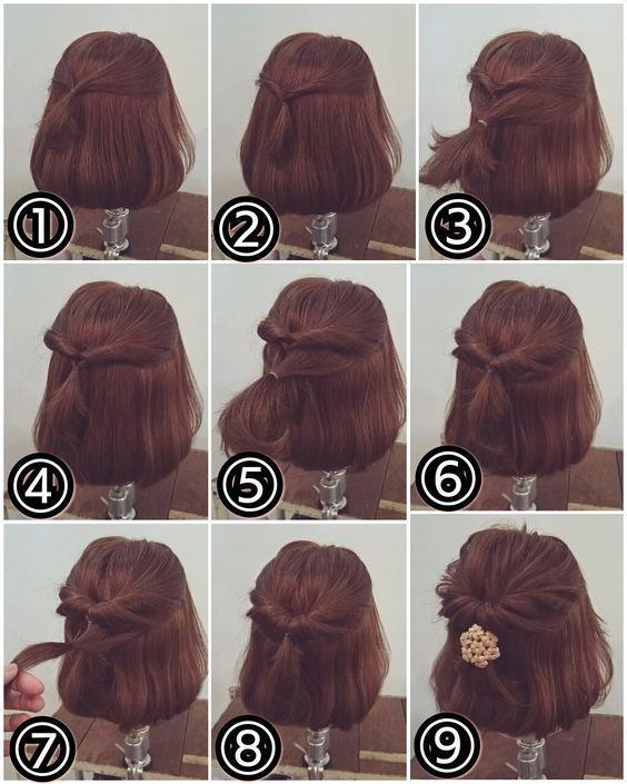 Einfache Hochsteckfrisuren für kurzes Haar –